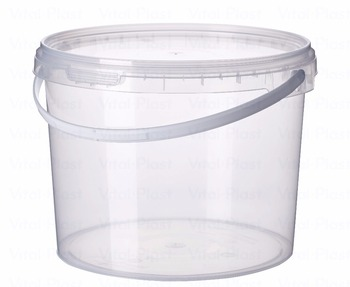 5 L/1,32 Gallon Round Plastic Bucket with Lid