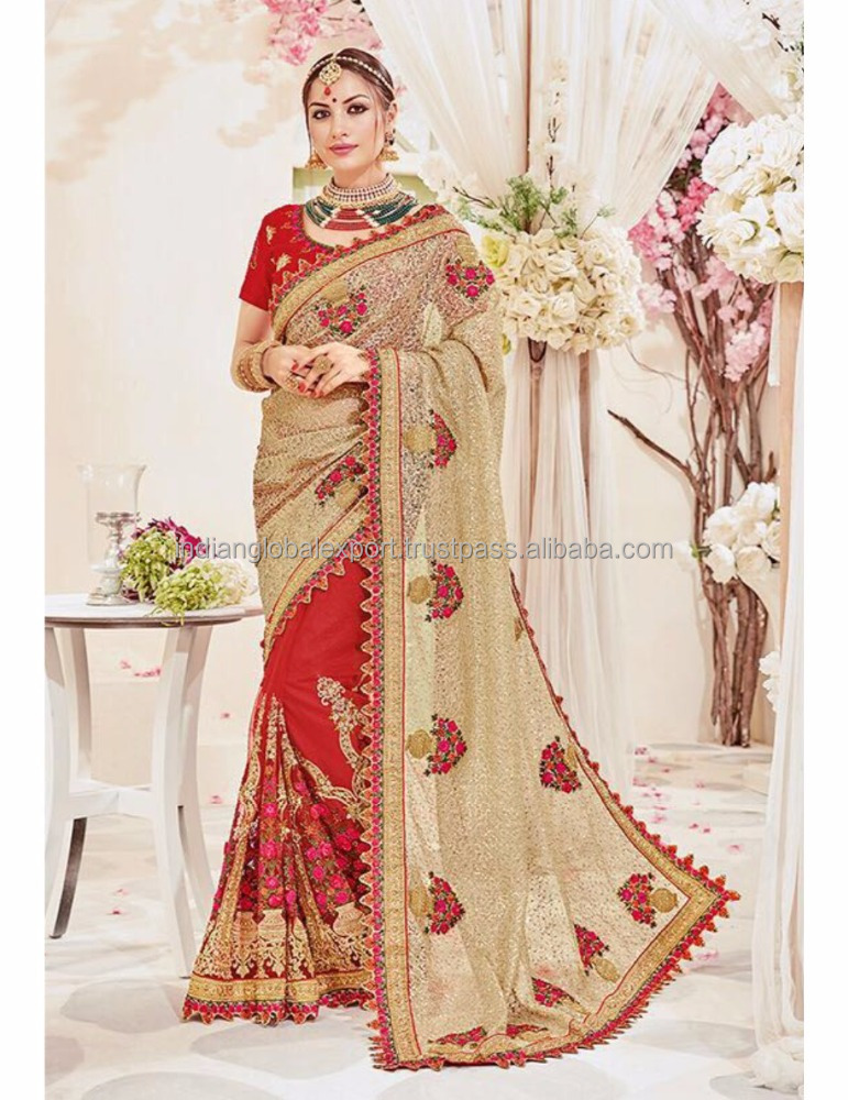 Designer moti and diamond heavy work border saree
