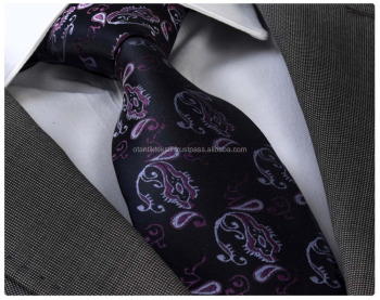 Black Purple Paisley Neck tie, best sells, tie, silk necktie, necktie label, corbata, krawatte, Schlips