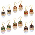 Jaipur Mart Gold Plated Kundan & Imitation Pearl Meenakari Work Multi Color Earrings Set of 6 Pairs Earrings For Girls