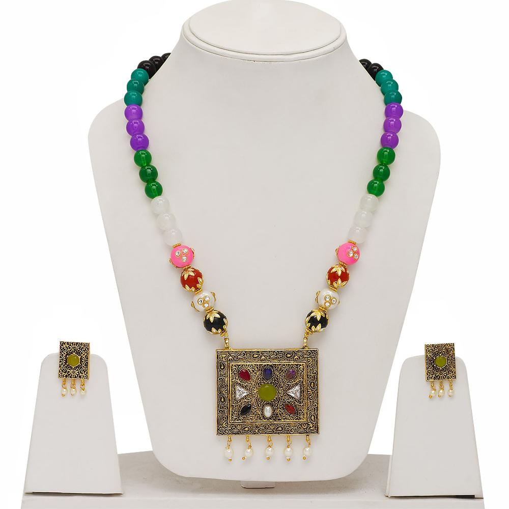 Jaipur Mart Gold Plated Multi Color Colored Glass Stone, Color Beads, Pearl Necklaces With Earrings