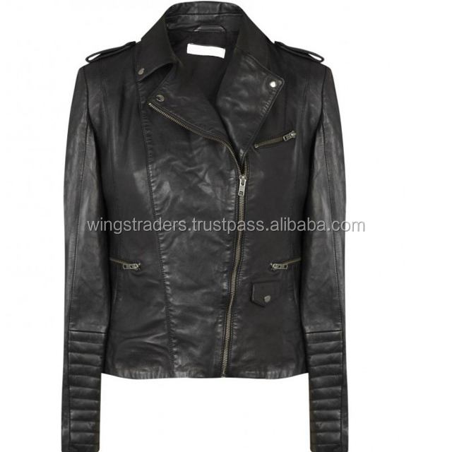 Factory Price Best Quality Pakistan Clothing Manufacturers Ladies Black Leather Jacket WT-LJ6012