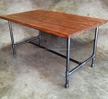 Industrial dining table reclaimed pallet wood with hairpin metal legs