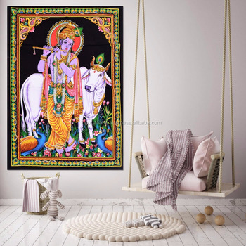 Indian Latest Poster Throw Cotton Wall Decor Lord Krishna Home Decor Poster Meditation Wall Hanging Tapestry 45X30 Inch