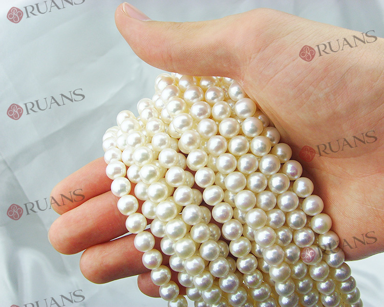 7.5-8 mm AAA2 grade freshwater white near round pearl strands