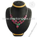 Fantabulous ruby, emerald gemstone necklace online 925 sterling silver necklaces jewelry indian manufacturer