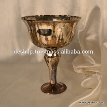 SILVER GLASS FLOWER VASE,FLOWER POT, PILLAR BOWL VASE,