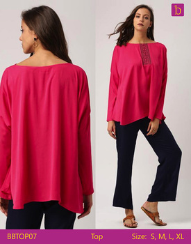 Ladies Blouses & Tops Loose Boat Neck Top with Three Quarter Sleeves Embroidered Top Casual Woman Tops