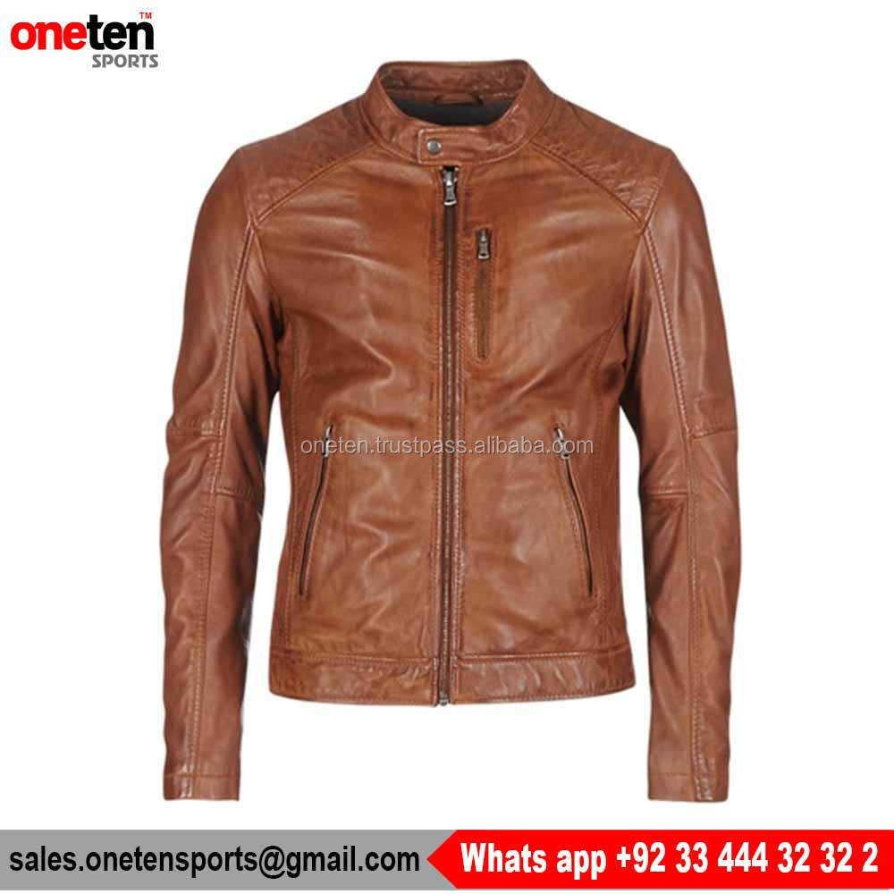 Men's Fashion Jackets Collar Slim Biker Motorcycle Leather
