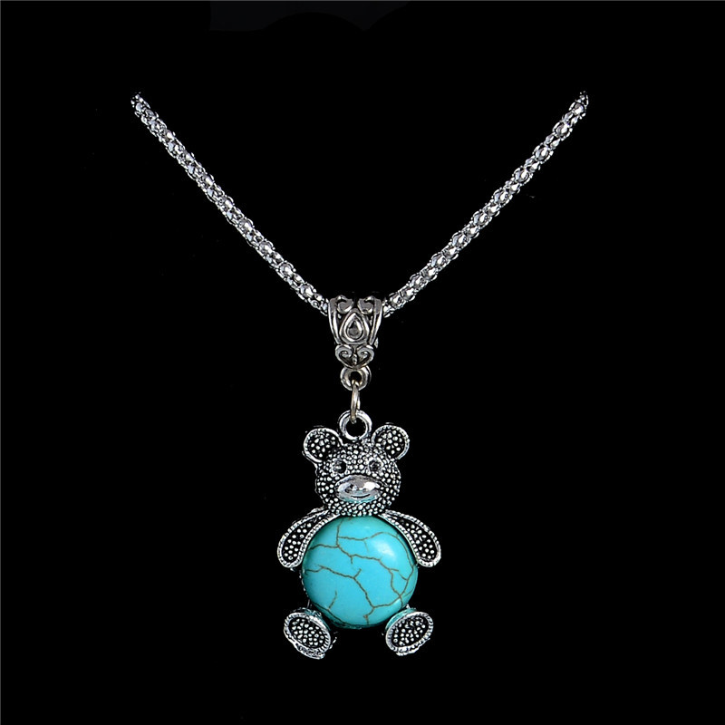 New Arrival Cute Animal Bear Tibetan Silver Stone Necklaces Fashion Long Chain Stone Jewelry