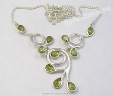 925 Solid Silver CABOCHON Drops PERIDOT Necklaces 16 3/4 Inches BIRTHDAY PRESENT Fasion Artisan Jaipuri Jewellery Supplier
