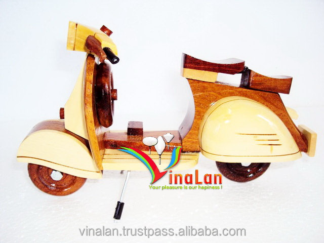 Hand Carved Wood Vespa Model - Scooter model