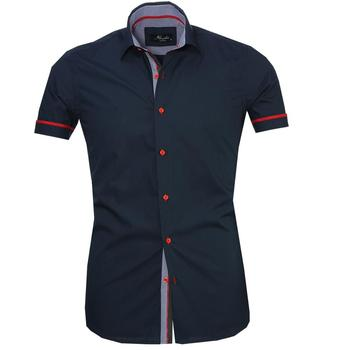 Basic Dark Blue Short Sleeve High Quality  Dress Shirt