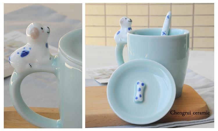 3D unique design wholesale special ceramic animal shaped with lid mug