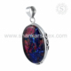 Oval shape dico glass pendant gemstone handmade 925 sterling silver jewelry pendants manufacturer