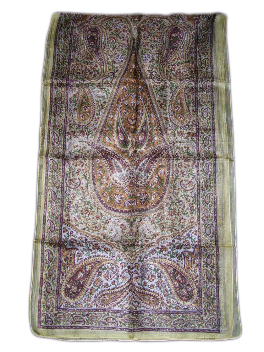PAISLEY BORDER DESIGN LONG SILK SCARF