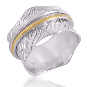 Wholesale Supplier 925 Sterling Silver Two Tone Spinner Rings