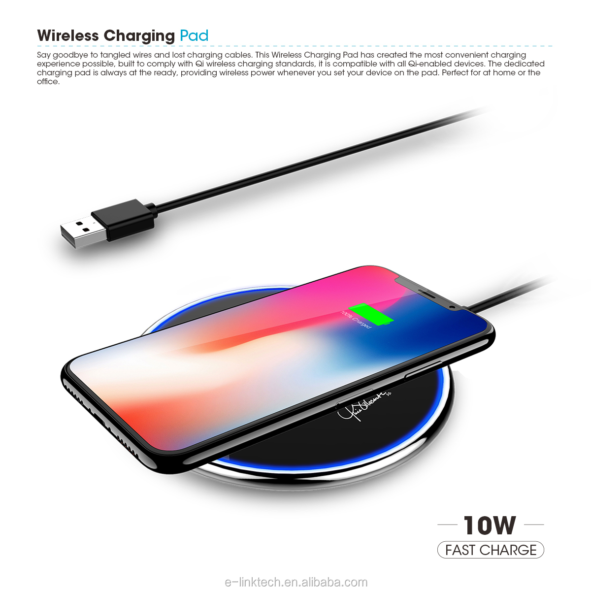 5W 10W phone charger fast Qi wireless charger for Samsung for iPhone