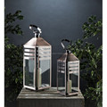 New Design Floor Hurricane Lantern Square With Wind Proof in Stainless Steel Mirror Polished