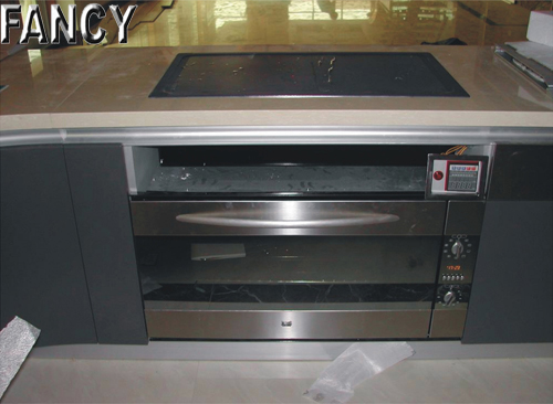 Embedded teppan with control panel (as part of interior design)