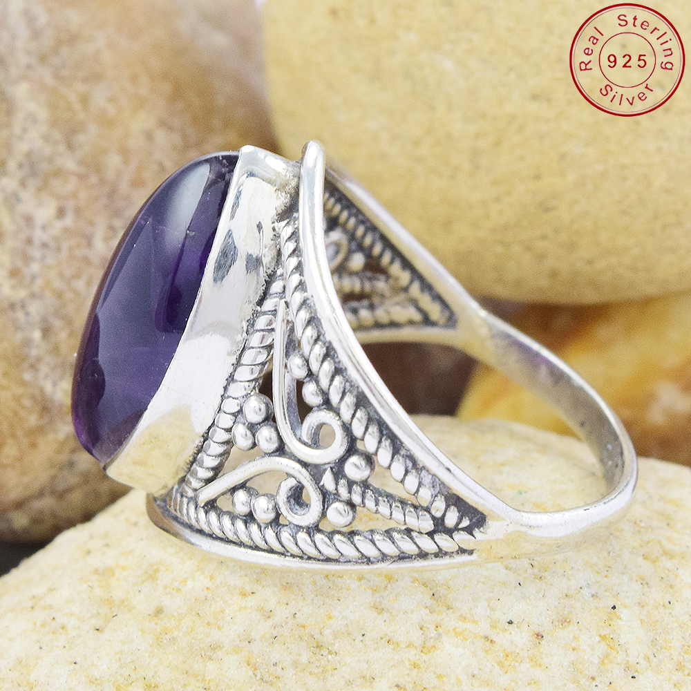 captivating purple amethyst ring 925 silver ring jewelry wholesaler handmade silver jewelry gemstone ring