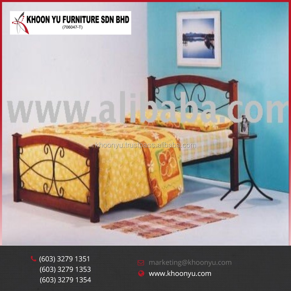 Malaysia Latest Design Picture Wooden Bed frame MW Elba Metal Single Bed Furniture