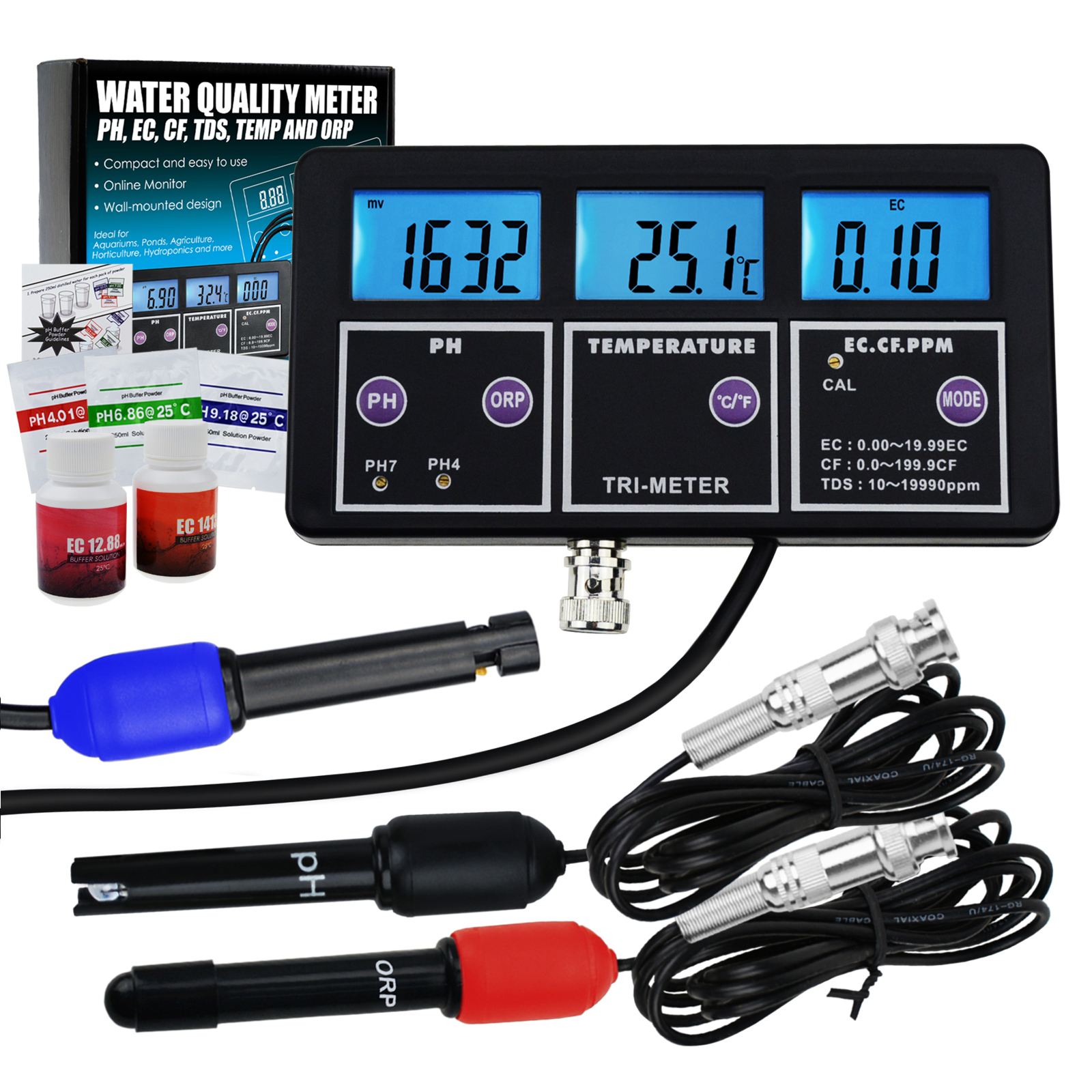 6 in 1 Professional Multi-parameter Water Quality Monitor Tester pH/ ORP/ EC/ CF/ TDS PPM/ Temperature Combo Testing <strong>Meter</strong>