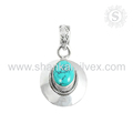 New design sky turquoise gemstone pendant handmade 925 sterling silver pendants wholesale jewelry suppliers