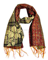 Ladies Fashion Office Wear Silk Scarf Wrap Stole Shawls Floral Indian Kantha Scarves Wholesale