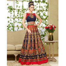 Navy Blue Bhagalpuri Silk Anarkali Suit / Lehengas Online Shopping India / Lehengas Online Shopping