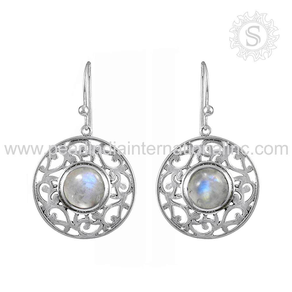 Competitive price rainbow moonstone gemstone jewelry 925 sterling silver earrings indian silver earrings wholesale