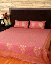 Red Golden Damask Hand Block Printed Cotton Wedding Hall Decorative Double Bedding Set