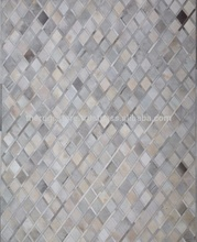 Handmade Cowhide Leather Silver M-TRS CH D4 Carpets