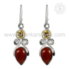 Latest designer silver earring 925 sterling silver jewelry carnelian, citrine gemstone earrings jewellery wholesaler