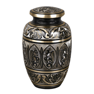 Black Full Engraved Human Ashes Urns