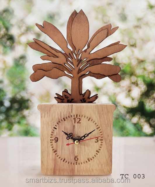 Classic Style Banana Tree Pot from Thailand Wooden Table Clock