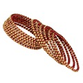 Thread Work With Gold Plating Rani Color Glass Stone Traditional Bangle Size: 2.10