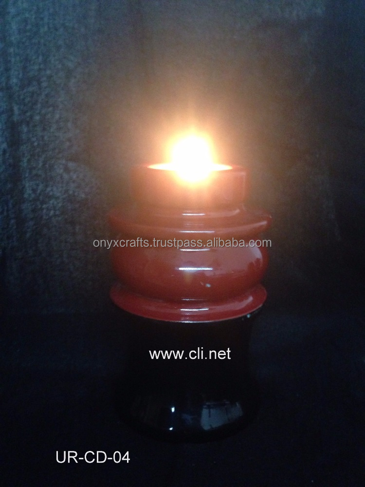 Red/Black Marble Cultured Tea Light Candle Holder Cremation Keepsake Urns in Cheap Price