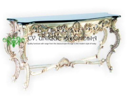 Luxury Italian Rococo Carved Console Table with Granit Top Living Room Furniture