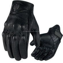 Men Black Perforated Pursuit Street Stealth Leather Motorcycle Glove Pro Easy Racing Gloves Motorbike Reading Motorcycle Gloves