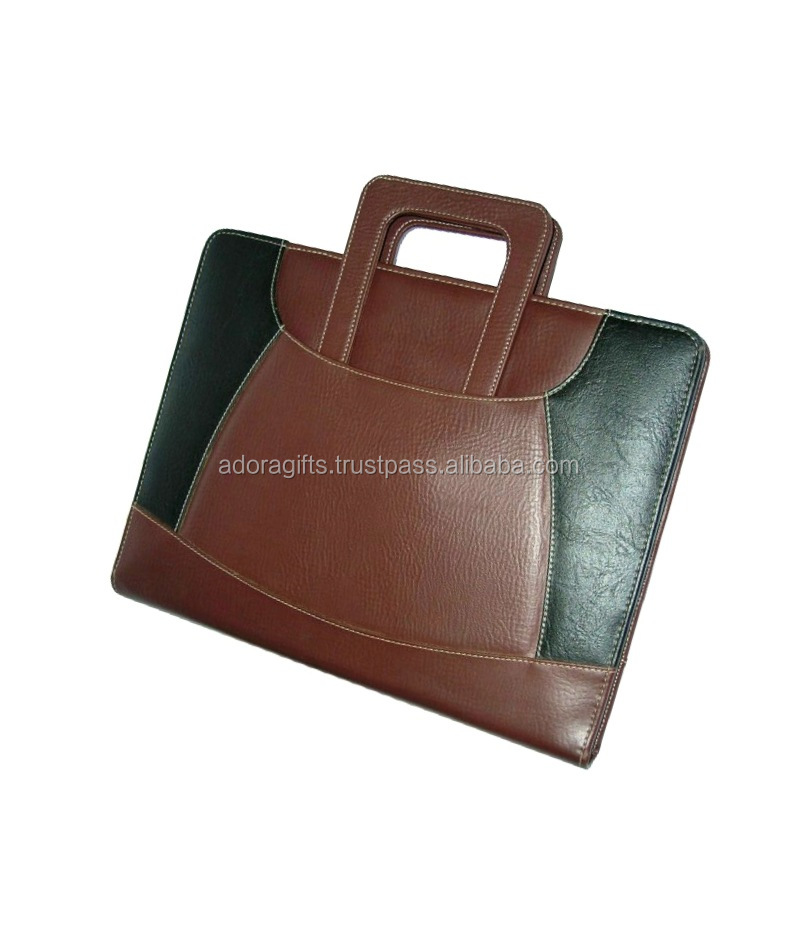 Business Corporate Meetings A4 Portfolio Leather Conference File Folder With Handle