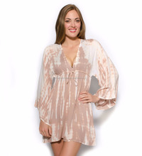 Sexy Hot Looking 2018 Newest Beach Dress For Young Women's Wear Rayon Tie Dye V Neck Short Caftan Beach Cover Up