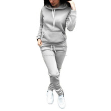 High quality custom womens tracksuit 100%cotton blank latest design plain sweat suits color gray