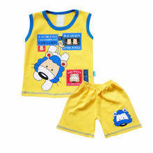NEW Kids Clothes Set 100% Cotton Sleeveless T-shirt and Pants with Lion Printing For Baby Boy SKCO2398M