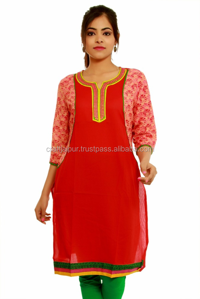 Jaipur kurti hand printed women's cotton dress wholesale