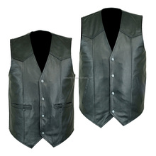 MENS HIGH QUALITY PREMIUM LEATHER VEST BIKER MOTORCYCLE CONCEALED CARRY-2 STYLE/ Best quality by taidoc intl