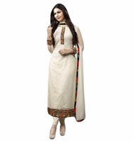 Fashionable White Color Georgette Semi Stitched Designer Salwar Kameez (salwar kameez Suits)