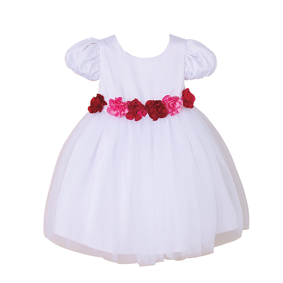 white beautiful flower baby clothes wholesale price latest dress