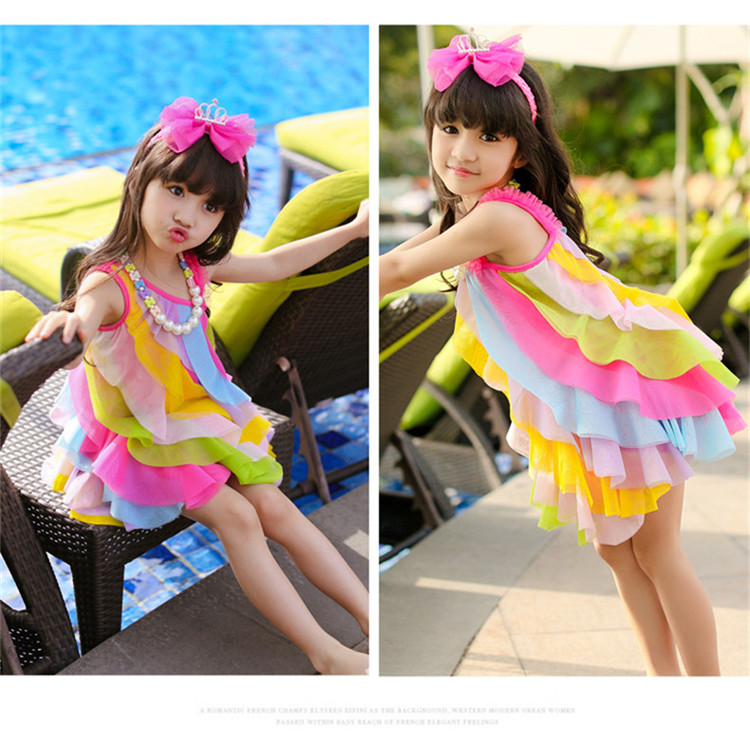 kids rainbow waves dress girls princess cut blouse designs one side shoulder top 2017 latest children dress