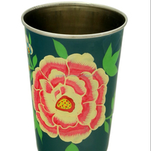 New indian exclusive hand painted flower design stainless steel tumbler glass drink water cup camping kitchenware glass